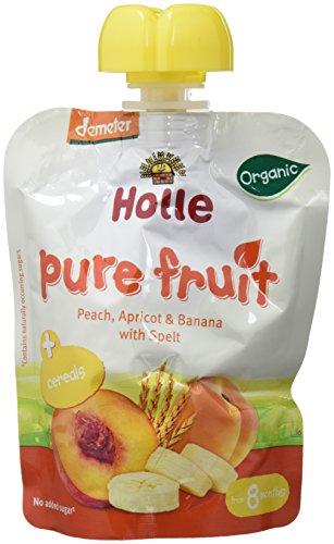 Holle Smoothie Melocotón, Albaricoque, Plátano con Espelta (+8 meses) - Paquete de 12 x 90 gr - Total: 1080 gr