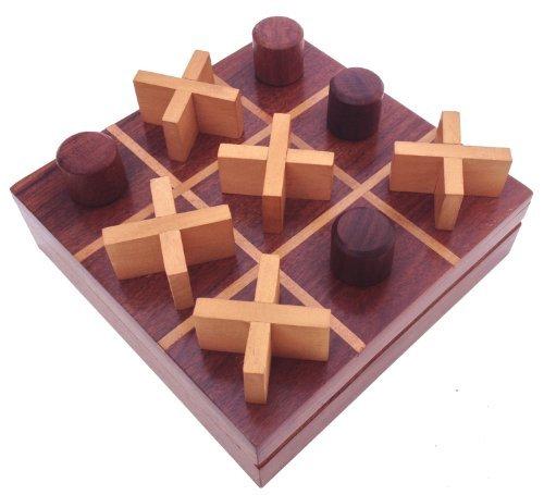 SouvNear Tic Tac Toe Spiel aus Holz – Rosenholz Aufbewahrungskiste Reisekiste Set - Brettspiele aus Indien für Familien aus einzigartiger handgefertigter Qualität aus Holz – Tolle Geschenke für alle Gelegenheiten (Klappe Früh)