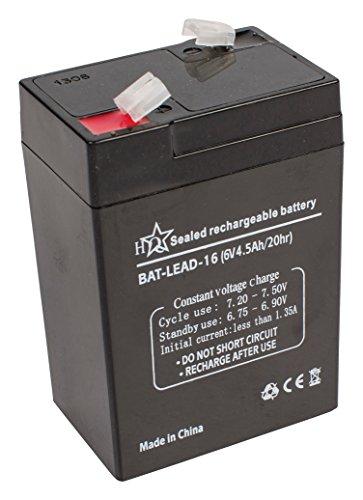 HQ BAT-LEAD-16 Plomo-ácido 4500mAh 6V batería recargable - Batería/Pila recargable (4500 mAh, Sealed Lead Acid (VRLA), 6 V, Negro, 1 pieza(s))