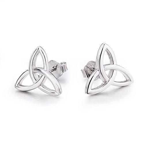 Keltische Knoten Ohrringe 925 Sterling Silber Keltischer Triquetra Trinity Knoten Ohrstecker Schmuck für Damen Mädchen Kinder (Keltische Knoten Ohrstecker 2) (Ohrring Keltische)