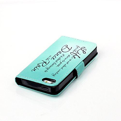 Cover iphone 5 / SE / 5S, Cover iphone 5 / SE / 5S, Alfort Cover Protettiva Premium PU di alta qualità Flip Case Cover per iphone 5 / SE / 5S 4.0 Smartphone Cover di Cuoio Flip Stand Ci sono funzioni lettera