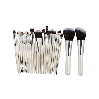 NaiCasy 22 Stück professionelle hochwertige Faser Haar Make-up Pinsel Set Silber WEIß