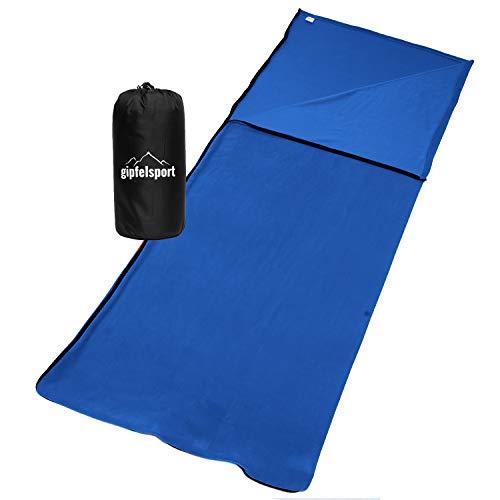 gipfelsport Sommerschlafsack - Camping Schlafsack aus Mikrofaser, Deckenschlafsack - leicht, klein, rechteckig | blau -