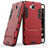 Huawei Y6 2017 coque,SMTR Double Couche Cover Antichoc Case Résistant aux chocs Goutte à l'épreuve Cas de Téléphone Portable Avec Béquille Etui Housse pour Huawei Y6 2017 smartphone(Huawei Y6 2017,rouge)