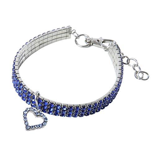 CAOQAO Benutzerdefinierte niedliche Rundhalsausschnitt Bling Strass Halsketten Phantasie Halskette Herz für Welpen Kleine Hunde und Katzen - 3 Farben -