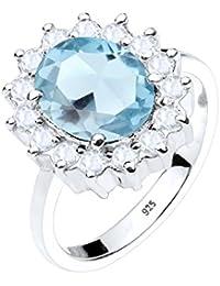 Elli Damen-Ring Cocktailring Verlobungsring 925 Silber Brillantschliff Topas blau