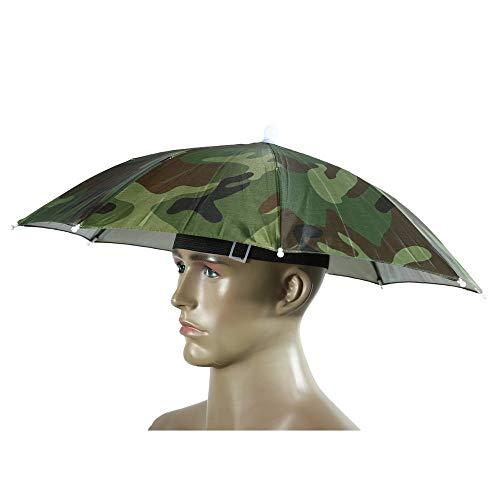 TEN-G Portable Umbrella Hat Sun Shade Camping Fishing Hiking Golf Beach Headwear Outdoor Brolly for Men Handsfree Umbrella Tackle - Camo (Rain Coat Rack)