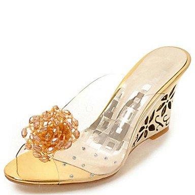 LvYuan Damen-Sandalen-Kleid Lässig-Gummi-Keilabsatz-Komfort Club-Schuhe-Silber Gold Gold