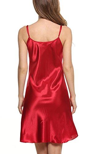 Avidlove Robes de nuit femmes Chemises de nuit en satin nuisette confortable et élégante Taille 34-50(S-XXL) Rouge foncé