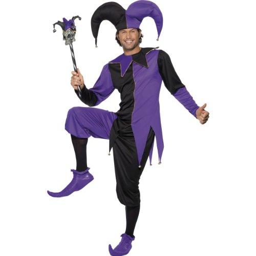 Narren Mittelalterliche Kostüm - Smiffys Karneval Herren Kostüm mittelalterlicher Narr Hofnarr Larp Größe M
