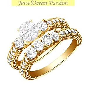1.17 Carat Three Stone Engagement Ring Sets Round cut Diamond on 14K Yellow gold