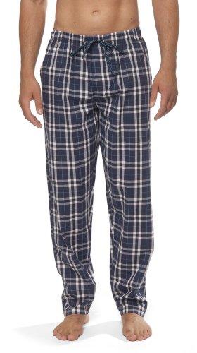 Moonline - Herren Webhose Freizeithose Loungewear aus 100% Baumwolle, Farbe:navy, Größe:50/52 (Pyjama Herren Hose)