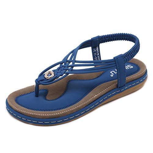HAINE Damen Sandals, Frauen Sandalen Sommer Bohemian Strass Flach Sandaletten PU Leder Zehentrenner in Größe 36-44EU