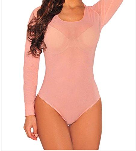 bling-bling-womens-pink-long-sleeve-sheer-mesh-bodysuit-size-s