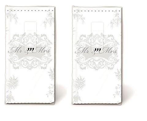 20 Taschentücher (2x 10) Taschentücher Mann und Frau silber / Hochzeit / Freudentränen