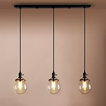 Pathson industrial vintage modern loft bar pendant light fittings cluster chandelier edison hanging ceiling lamp light fixture 3 lights with globe glass