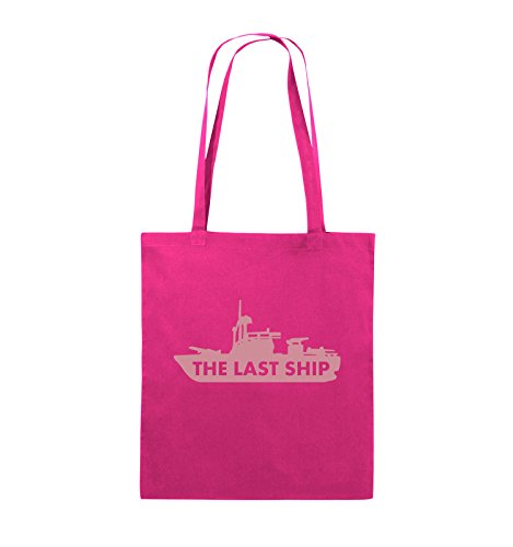 Comedy Bags - THE LAST SHIP - Jutebeutel - lange Henkel - 38x42cm - Farbe: Schwarz / Silber Pink / Rosa