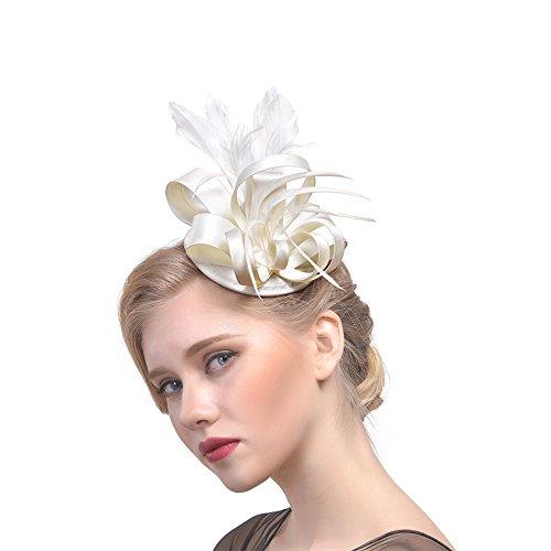 Netz Schleier Party Hut Ascot Hats Blume Derby Hut mit Clip und Haarband für Frauen Gr. 90, beige ()