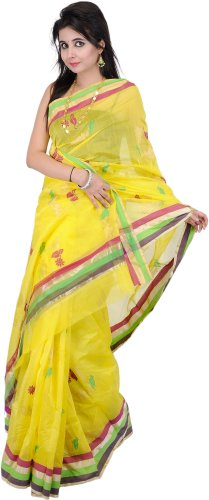 Exotic India Buttercup-Yellow Chanderi Saree with Hand-Woven - buttercup yellow