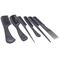 6 PIECES HIGH QUALITY COMBSET PROFESSIONAL BARBER HAIR STYLING (Black)