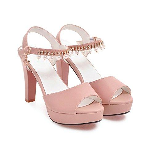 High Heel Schuhe, grob ferse schuhe, Fisch Mund spitzen, Sandalen für Frauen, Beige, 41