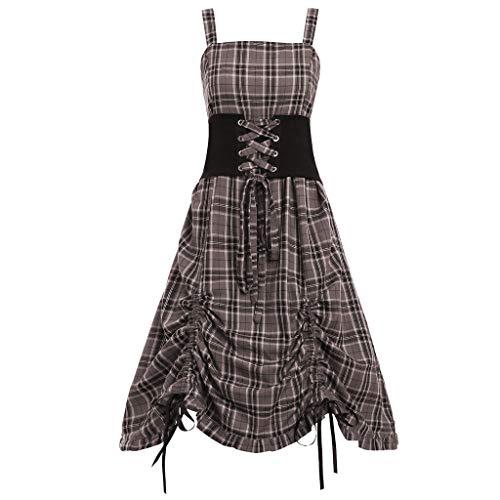 laid Print Waist Seal Irregular Lace Up Tank Dress Damen Karokleid ärmellos Vintage Midi Kariertes Kleid A-Linie Mit Gürtel Cocktailkleid Partykleid(Khaki,5XL) ()
