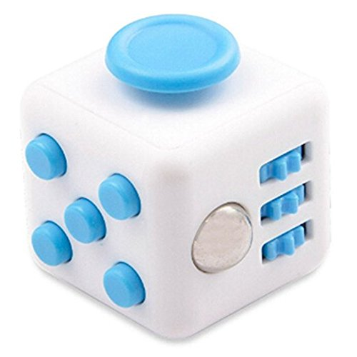 Fidget Cube Relieves Stress And Anxiety, Fidget Toy Fun Cube Anxiety Attention Toy for Children and Adults with ADHD ADD OCD Autism-White/Blue