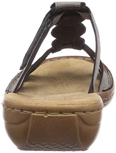Rieker  608A4, Claquettes femme Gris - Grau (staub / 42)