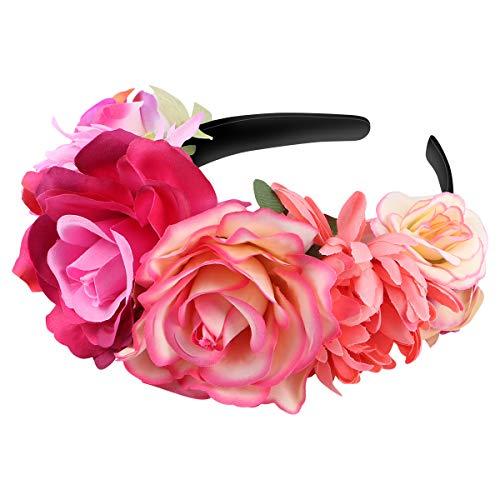 Amosfun Mexikanische Blume Stirnband Rose Flower Crown Hochzeit Stirnband Kopfschmuck für Halloween Maskerade Party Cosplay Kopfschmuck (Blumen-stirnband Crown)
