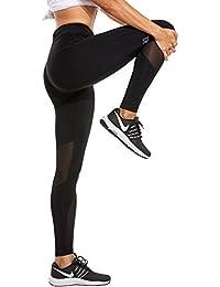 SYROKAN Pantalones Deportivos Malla Fitness con Bolsillo Para Mujer