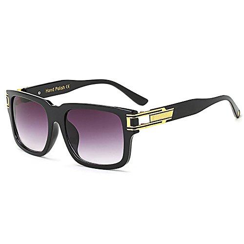 SHEEN KELLY Große Vintage Retro sonnenbrille bunte Metall Damen Herren Schwarz Rahmen Schrittweise Linsen Gelb Square BRILLE Luxus