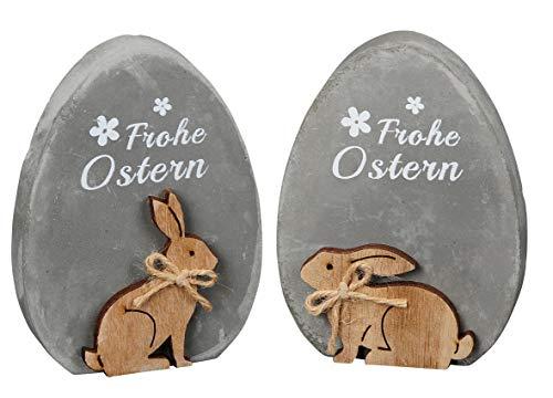 Deko-Ei Oster-Ei Frohe Ostern mit Hasenmotiv grau-weiß 2 Motive Sortiert (2) ()