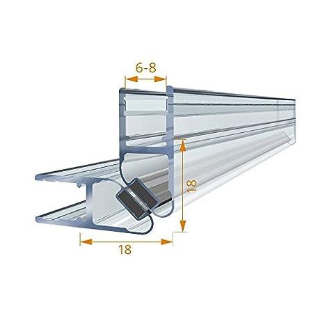 Meister Joint magnétique 2x 2m de douche 201cm profil magnétique Lot de 2barre aimantée Joint de rechange verticale Profil de douche universel pour portes de douche étanche l