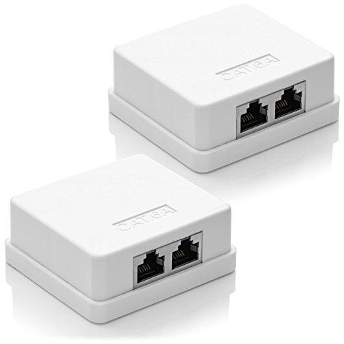 deleyCON 2X CAT 6a Netzwerkdose 2X RJ45 Buchse FTP geschirmt Aufputz Montage 10 Gbit Ethernet Netzwerk LAN Dose RAL 9003 Signalweiß