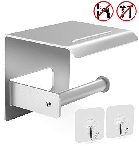 Selbstklebend Toilettenpapierhalter, Gifort Papierhalter Ohne Bohren mit Mobiler Telefon Aufbewahrungsfläche für Küche/ Badzimmer (Aluminium)