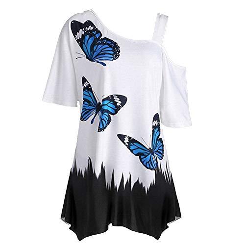 YEZIJIANG Heißer Große Größe Frauen Damen Mädchen Sommer Schmetterling Druck T-Shirt Oberteil Kurzarm Cold Shoulder Tops Tuniken Longshirt Bluse Baumwolle Sommer Casual Locker S-5XL - Schmetterling Kurzarm-bluse