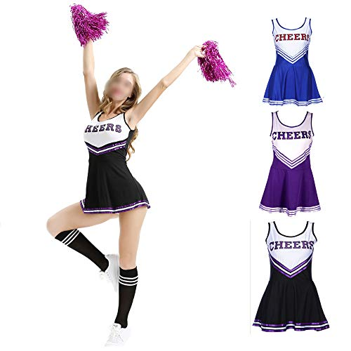 GxNImer Ladies Cheerleader Fancy Dress Outfit, Musical Sports Cheerleader Fancy Dress Kostüm Outfit W/Pompoms und Halloween Kostüm 6 Colours/XS, S, M, L, XL,Black,S