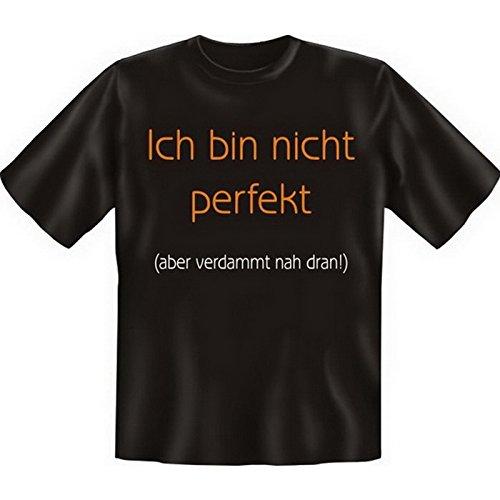 Lustiges Sprüche Fun T-Shirt mit MiniShirt - Ich bin nicht perfekt, aber - für Damen Herren Farbe schwarz Schwarz