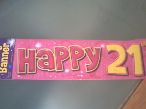 Unbekannt Party-Spruchband Happy 21st, 2,6 m, Rosa