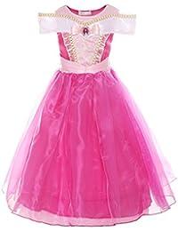 ReliBeauty – Fille–Robe d'Aurore pour enfant Costume de La Belle au Bois Dormant Tenue cosplay Halloween Déguisement en tulle pour carnaval ou fête