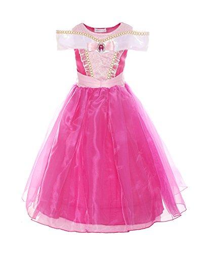 ReliBeauty Mädchen Kleider Brosche Dornröschen Aurora Prinzessin Kleid Drop Shoulder Cosplay Kostüme, Pink, 146-152(Etikett - Disney Samt Kostüm