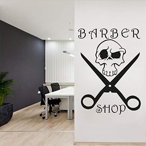 Herren Salon Haarschnitt Bart Gesicht Werkzeug Logo Friseursalon Aufkleber Abnehmbare Schaufenster Logo Wandbild 57x78cm -