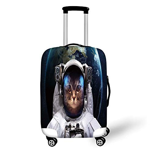 Purple Kitty Zubehör Set - Travel Luggage Cover Suitcase Protector,Space Cat,Astronaut