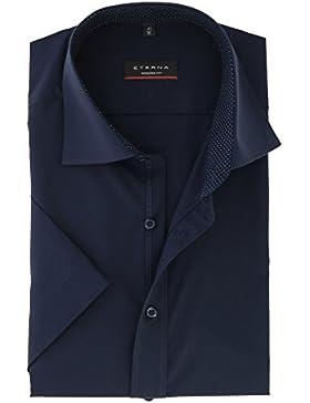 ETERNA Modern Fit Hemd Halbarm mit Besatz New Kent Kragen nachtblau