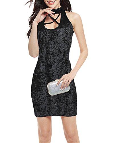 Elegante Donna Senza Maniche Benda Fasciatura Croce Scollo Colore Solido Pacchetto Dell'anca Matita Velluto Vestito Nero