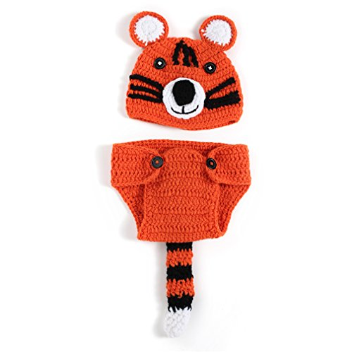 EEOZY Fotografie Prop Baby-Kostüm Crochet Strickmütze Hut Tiger Neugeborene Kostüm