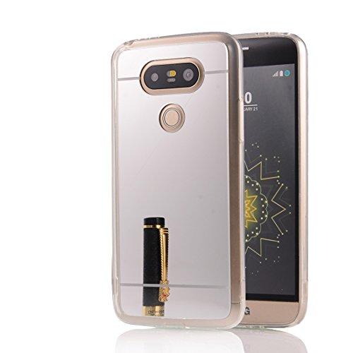 DBIT LG G5 hülle, Schlank Handy-Gehäuse Hülle Spiegel TPU Case Schutzhülle Silikon Case Tasche Für LG G5,Silber