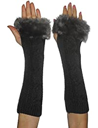 Womens Long Knitted Fingerless Gloves / Hand Warmers with Faux Fur