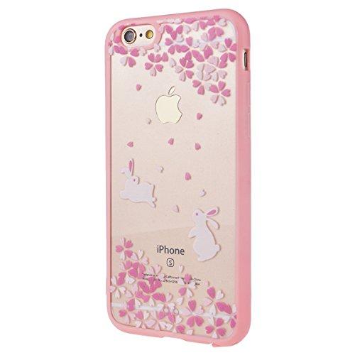 iPhone 6 / 6S Custodia, Yokata PC Silicone Bumper Goccia Protezione Cover Rosa Trasparente Crystal Clear Backcover Utral Slim Ultra Sottile Luce Case per iPhone 6 / 6S + 1 * Stilo Penna - Coniglio Coniglio
