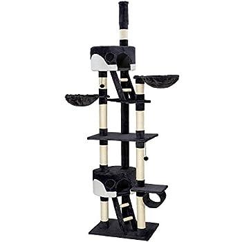 TecTake Arbre à chat XXL grattoir avec différents éléments - noir blanc - hauteur : env. 240-260cm
